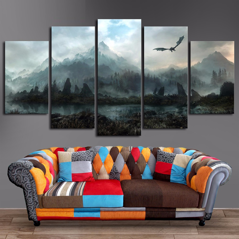 Canvas Wall Art Pictures Home Decor 5 Pieces Game Of Thrones Dragon Skyrim Paintings For Living Room Modular Prints Poster Frame drawer