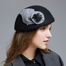 New England Winter Fedoras Hat Girls Fashion Woolen Leisure Hat Students Travel Beret Cap Adult Elegant Flowers Party Cap B-7915