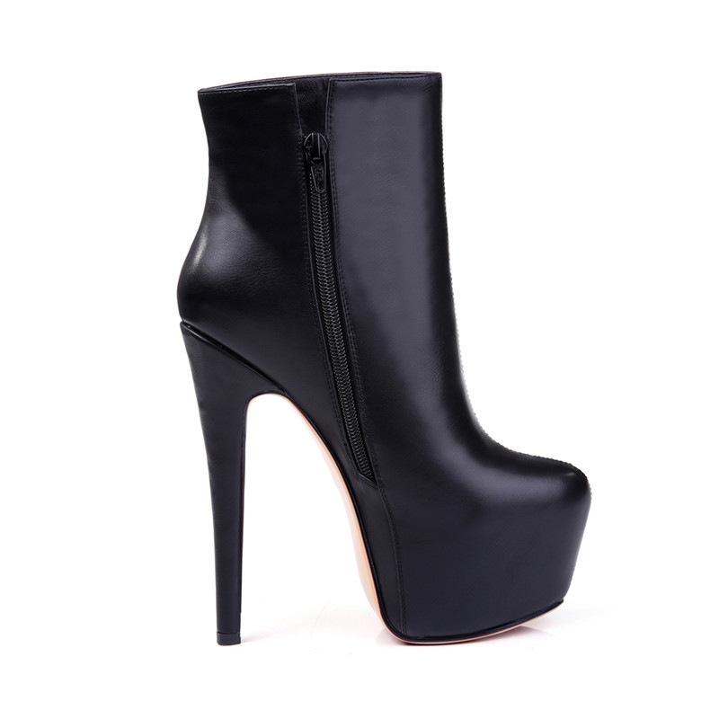 Onlymaker Women's Handcrafted Rounded 16CM  black color Toe Side Zipper Slim Fashion Ankle Boots size plus us15