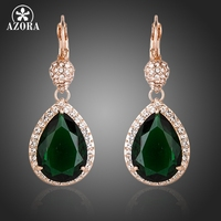 Noble 18K Rose Gold Plated Dark Green Swiss CZ With Crystal Surround Water Drop Earrings FREE