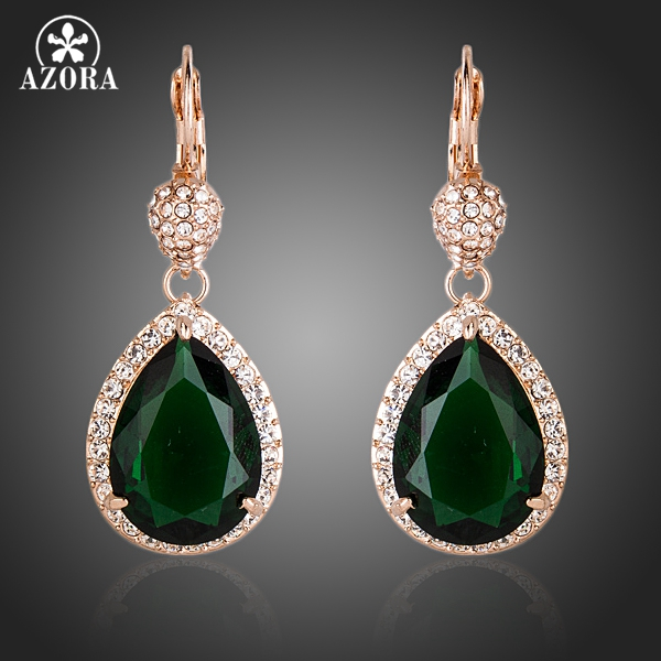AZORA Noble Rose Gold Warna Hijau Tua CZ Dengan Kristal Water Drop Earrings TE0157 Surround