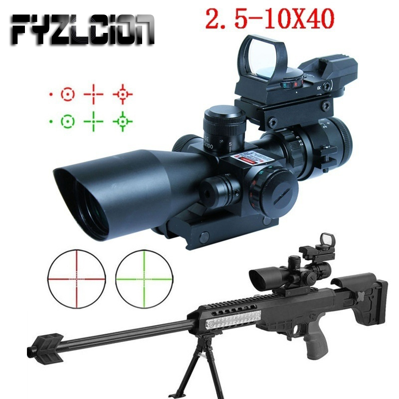 2.5-10x40 Tactical Rifle Scope Outdoor Hunting Accessories Mil-dot Red Green Illuminated Red Laser Mount Rifle Scope 2 5 10x40e r tactical rifle scope mil dot dual illuminated w red laser