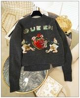 Сердце жаккард Амур 3D цветы вышитые шерсть кашемировые свитера с круглым вырезом королева блестками аппликации одежда с длинным рукавом вя