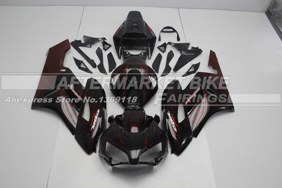 Хорошее качество ABS CBR1000RR 04 2005 обтекатель комплект для Запчасти для Honda красного и черного цветов пламени