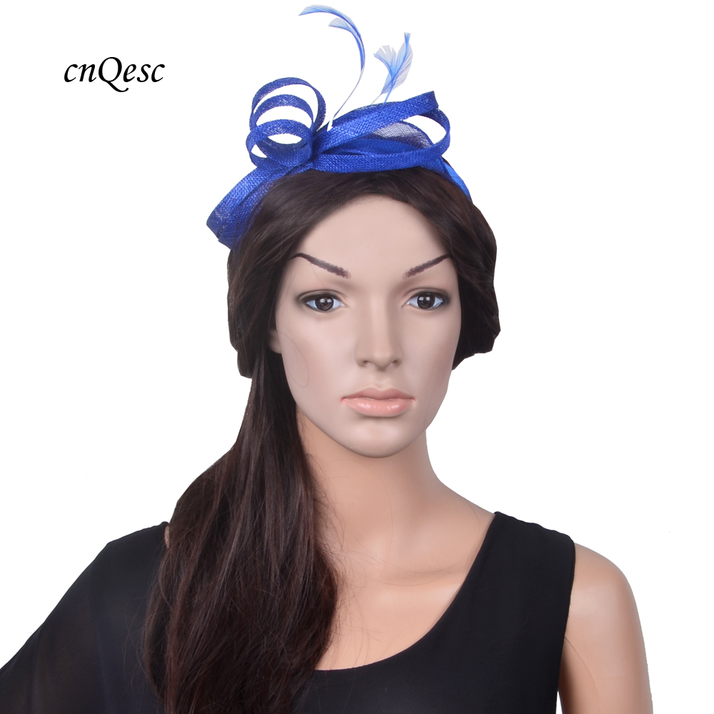New Wholesale arrival small royal blue sinamay feather fascinator wedding  hat for Ascot Races 452896445a9