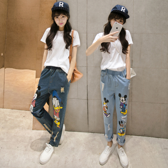 7f541c118e New 2015 Stylish Fashion New Womens Cartoon Jeans Pants Mickey Ripped Jeans  Cute Denim Trousers Girls Mickey Jeans Woman