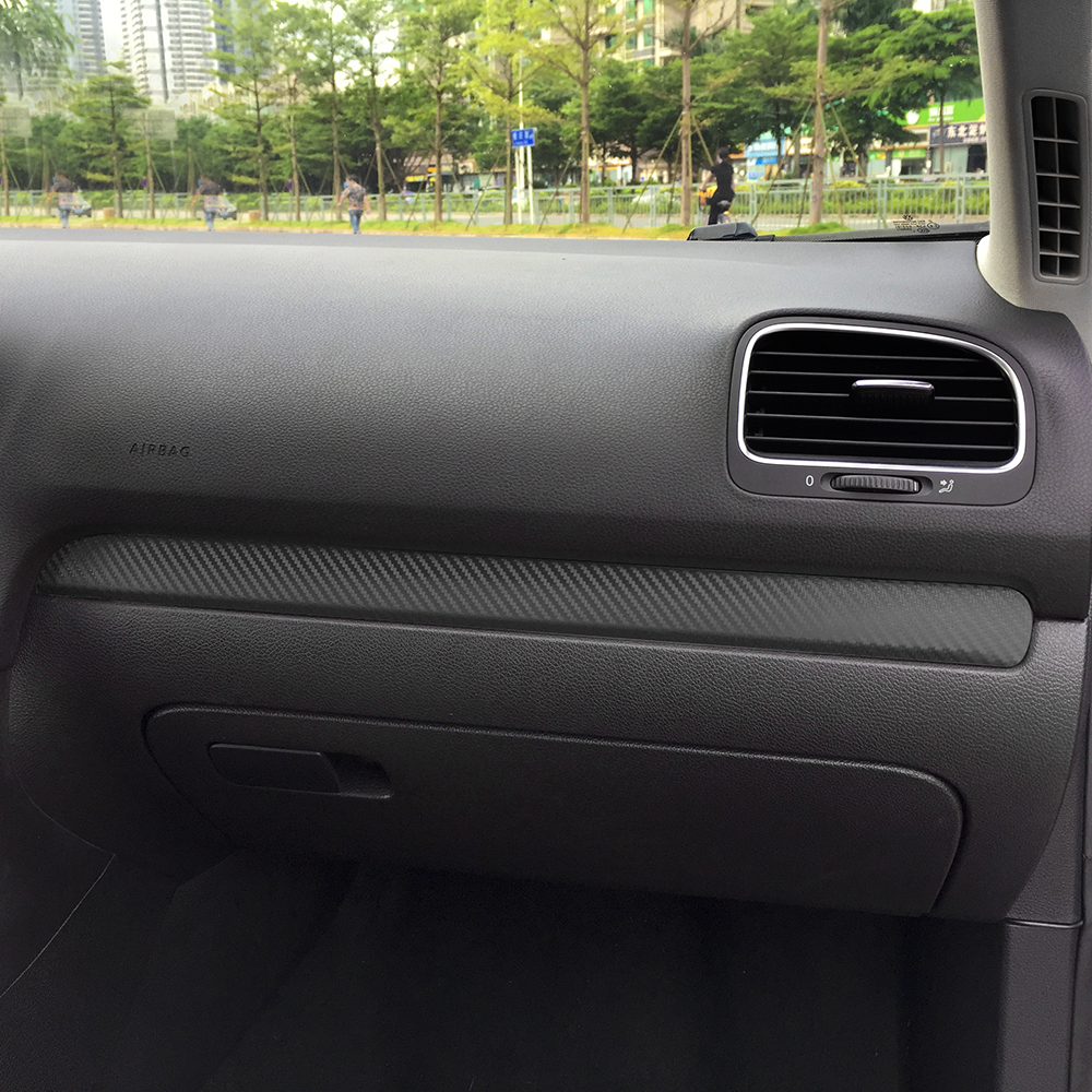 Image 3 - Glove Box Chrome Trim Colored Carbon Fiber Protection Film Sticker Decal Car Styling For Volkswagen VW Golf 6 MK6 Accessories-in Car Stickers from Automobiles & Motorcycles