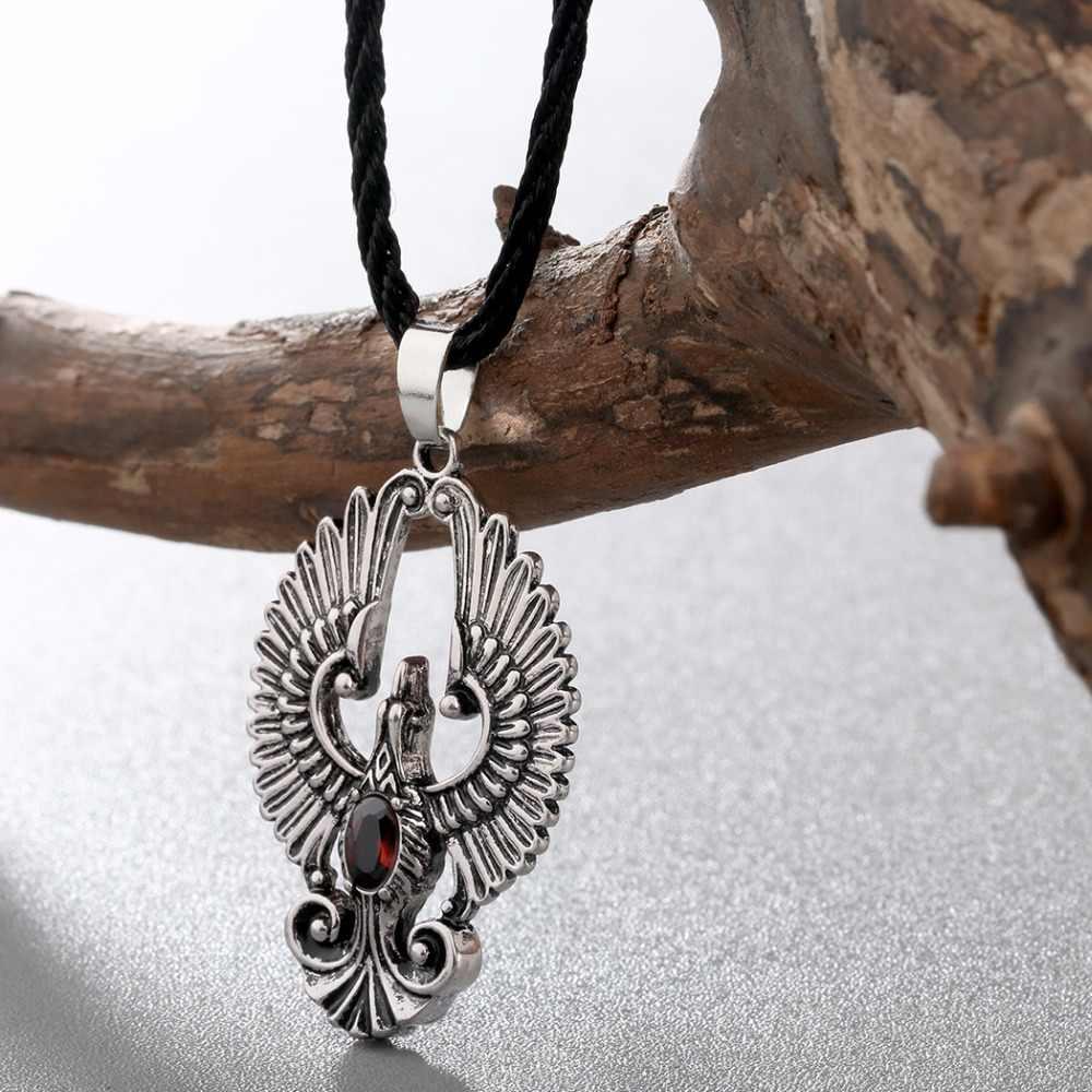 Kinitial ヴィンテージフェニックスペンダントネックレス孔雀鳥赤宝石のネックレスロングジュエリークリスマスギフト