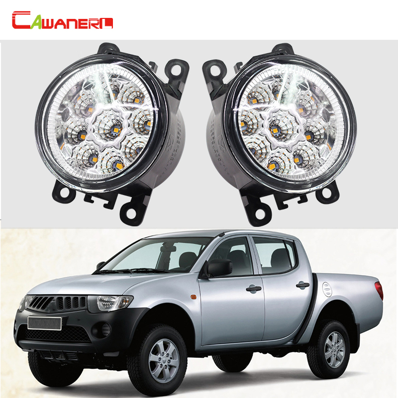 Cawanerl 1 Pair Car Accessories Replace LED Fog Light Daytime Running Light DRL For Mitsubishi L200 KB_T KA_T Pickup 2005-2015 cawanerl 2 pieces car led light right left fog light drl daytime running lamp for mitsubishi l200 kb t ka t pickup 2005 2015