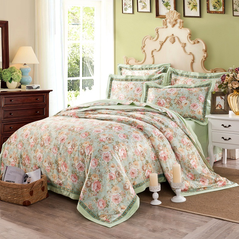 Cotton Jacquard Floral Print Bedding set 4Pcs Double King Queen size Bedsheet set Duvet cover Home