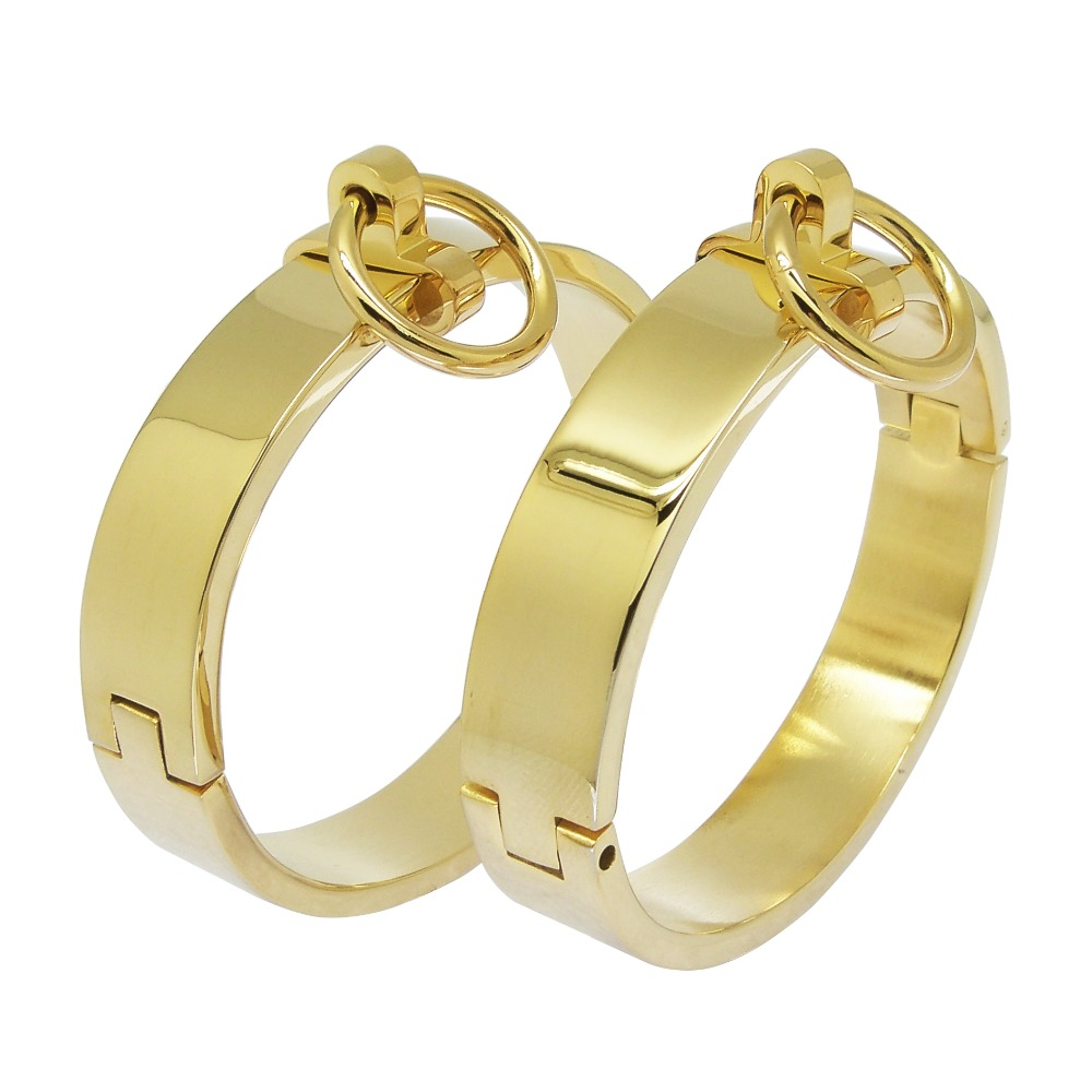 IP gold black color plated polished shiny 316L stainless steel fashion fetish bangle lockable bracelets with removable O ring