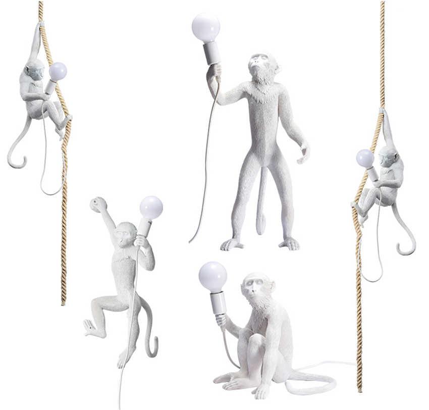 Современный светодиодный светильник из смолы, белая обезьяна, лофт, пеньковый веревочный подвесной светильник, светильники для бара, кафе, подвесные светильники