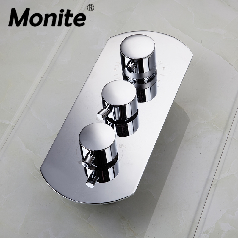 Thermostatic Shower Faucets Valve Wall Mounted Bathroom Shower Mixing Valve Mixer Tap 4 Ways Bath Shower Faucet Mixer Valve luxury thermostatic shower faucet mixer water tap dual handle polished chrome thermostatic mixing valve torneira de parede tr511