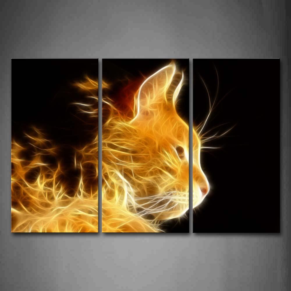 Encadrée mur Art photos jaune Orange brun chat toile impression Animal affiche avec cadre en bois pour la maison salon décor