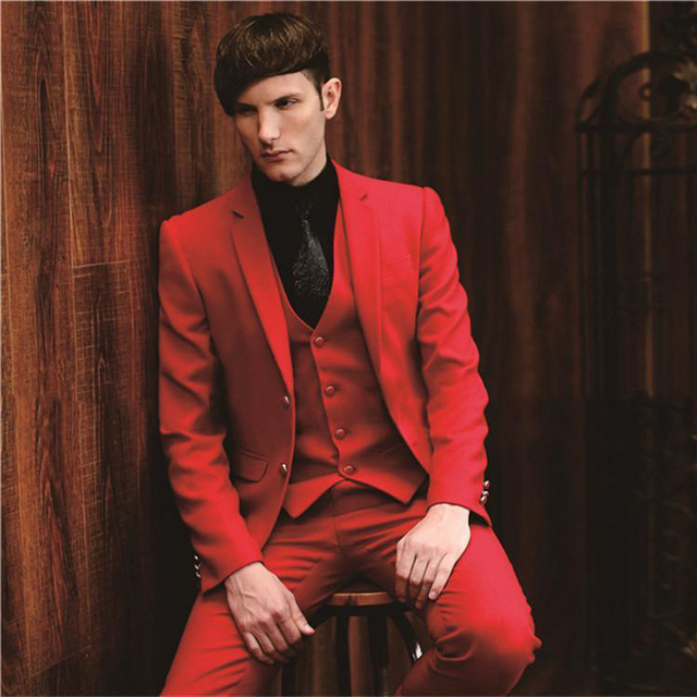 Bright Red Blue Two Buttons Groom suits for Wedding 2018 The Best ...