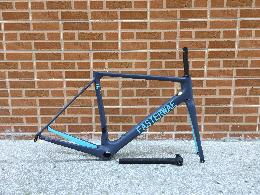 hot sell 2018 turquoise blue with gray fasterway O2 carbon road frame:carbon Frame+Seatpost+Fork+Clamp+Headset,ems free shipping