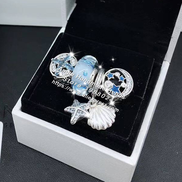 4 pièces mode 925 argent Sterling bleu CZ étoile de mer Dangle charme perle bijoux ensemble idéal pour bracelet colliers bijoux faisant femme cadeau