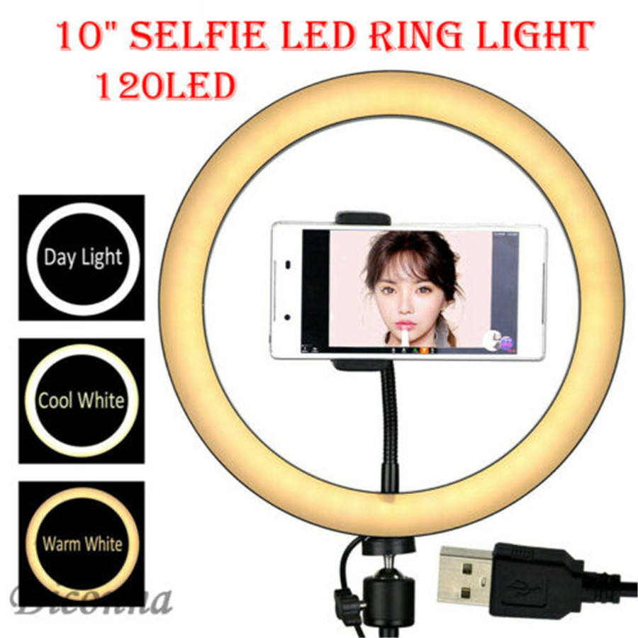 3 Lighting Modes 120 LED 10 Inch Ring Light Photography Studio Photo Video Dimmable Lamp USB Selfie Camera Phone