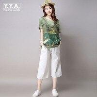 2017 New Arrival Korean Style Loose Print Pattern Suits Cotton Linen Comfortabla Tops Casual Calf Pants