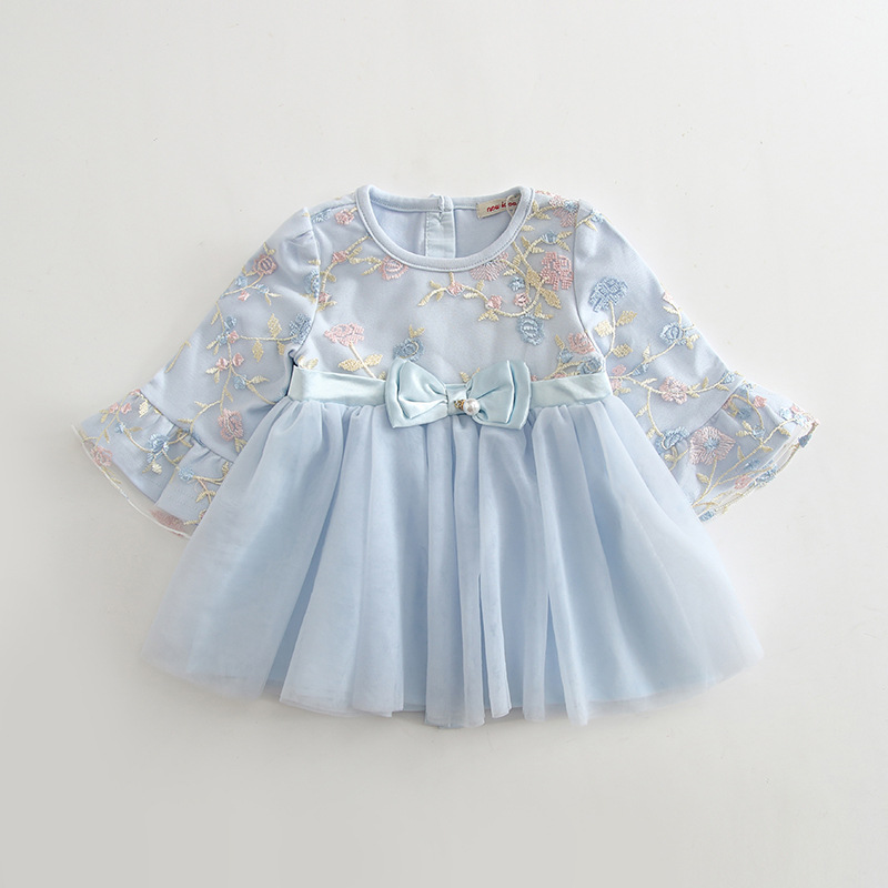Wholesale 5pcs lot Autumn Infant Embroidery Puff Sleeve Baby Girl Dress Princess Party Mesh Dress for