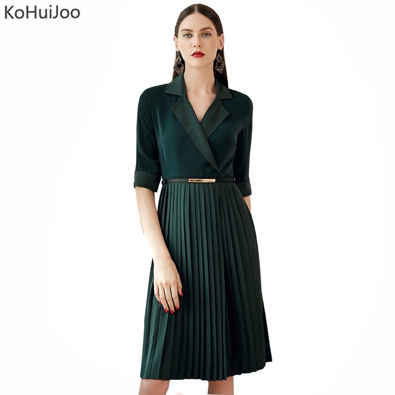 KoHuiJoo bureau dames robes plissées 2019 femmes tourner vers le bas col ceinturé mode haute qualité piste Blazer robes vert