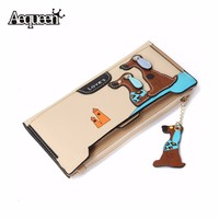 AEQUEEN Leather Wallet Women Long Purses Cute Dog Womens Wallets Zipper Hasp Coin Purse Patchwork Girls