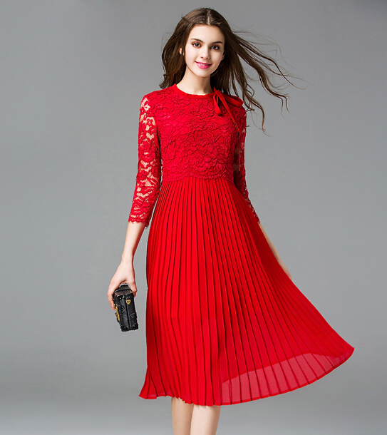 Popular Red Pleated Dress-Buy Cheap Red Pleated Dress lots from ...