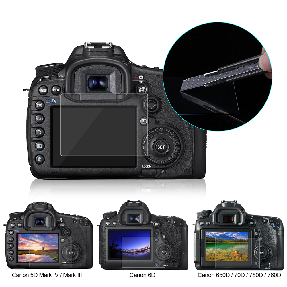 PULUZ Screen Protector For Canon 5D Mark III IV EOS 6D 7D Mark II 100D/M3 EOS 200D 650D 1200D SX600 G7X Tempered Glass LCD Film