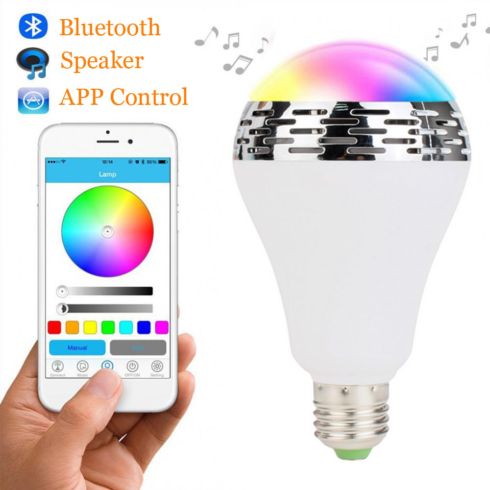 E27 Smart Bulb LED RGB Lights Lamp Bluetooth Bulbs Colorful Dimmable Speaker Lights Bulb APP Control Android IOS Smartphone