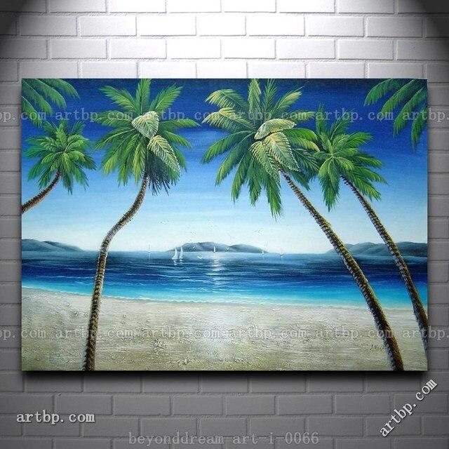 Pantai Dengan Pohon Pohon Palem Di Hawaii Lukisan Minyak