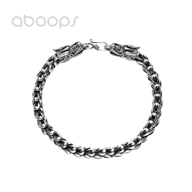 Vintage 925 Sterling Silver Chinese Dragon Head Link Chain Bracelet for Men Boys 4.5-8mm 18-23 cm Free Shipping
