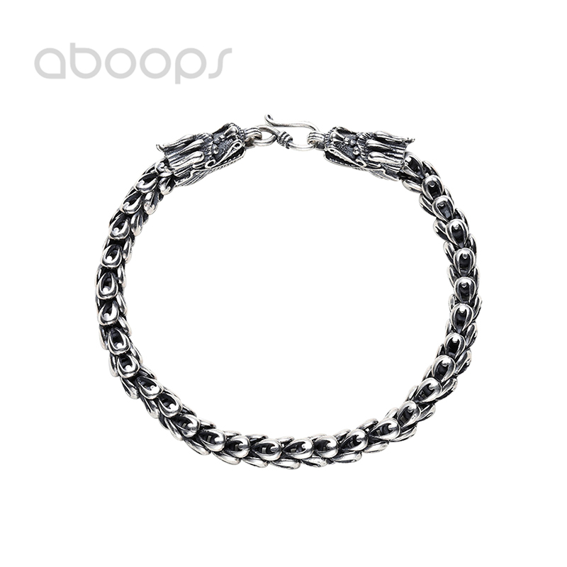Vintage 925 Sterling Silver Chinese Dragon Bracelet,Link Chain Bracelet for Men Boys 4.5-8mm 18-23cm