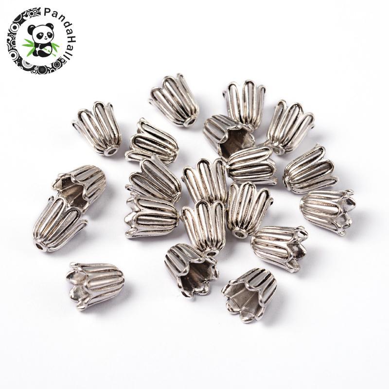 10 PCS Argent Antique 5-Pétale Fleur laiton Bead Caps Findings 20x15mm Trou 1.5 mm