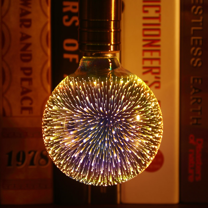 3D Stereoscopic Novelty <font><b>LED</b></font> Light <font><b>Bulb</b></font> 110V 220V <font><b>E27</b></font> A60 ST64 G80 G95 G125 Fireworks Silver Plated Decorative Light Christmas image