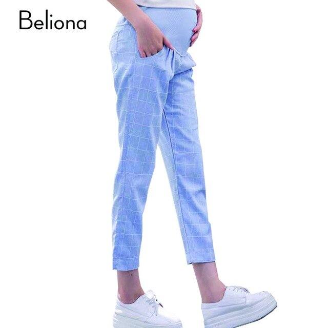 M-XXL Plus Size Cotton Linen Maternity Pants for Pregnant Women Comfortble Plaid Maternity Clothes Pregnancy Capri M-XXL