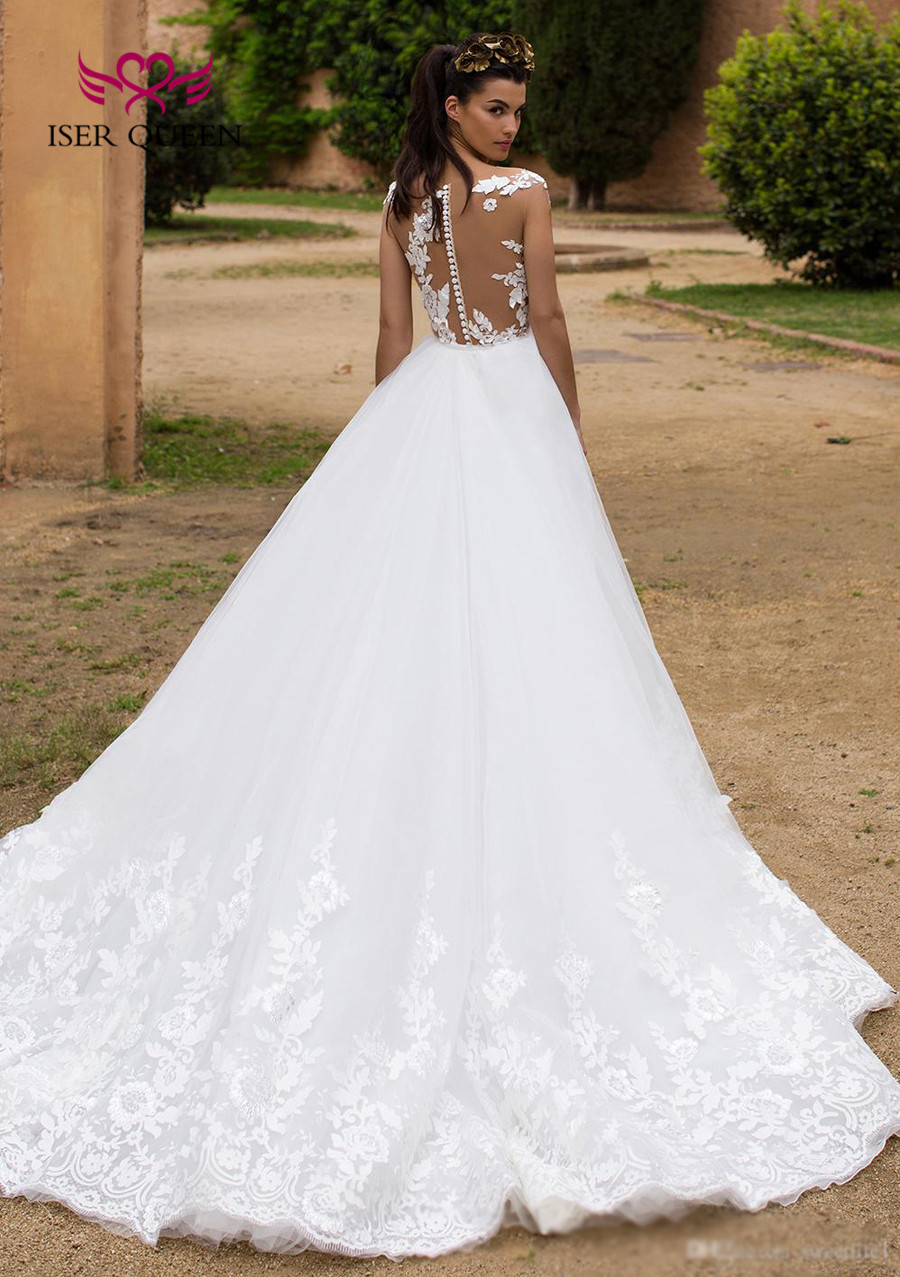 Image 3 - Detachable Train 2 in 1 New Design Illusion Back Sheer Neck Israel Mermaid Wedding Dress Bride Dress 2019 Wedding Gowns  W0326-in Wedding Dresses from Weddings & Events
