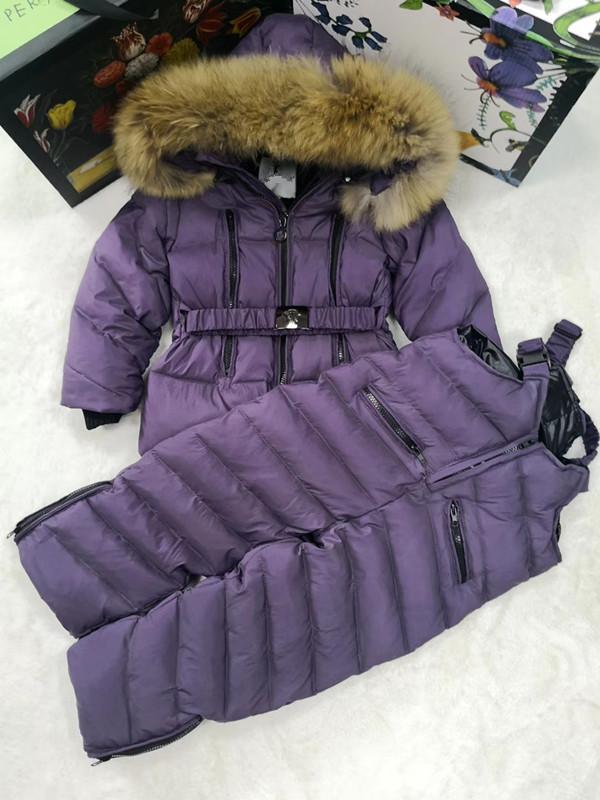 80cm -140cm 2018 Winter Jacket Children down jackets & PANT duck down Fur hooded girl snowsuit boy Suit set outerwear ski suit