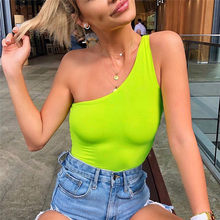 One-shoulder Fluorescence Neon Bodysuits Summer Women Sexy Streetwear Party Club Slim Bodycon Body Playsuit Black Overalls #1(China)