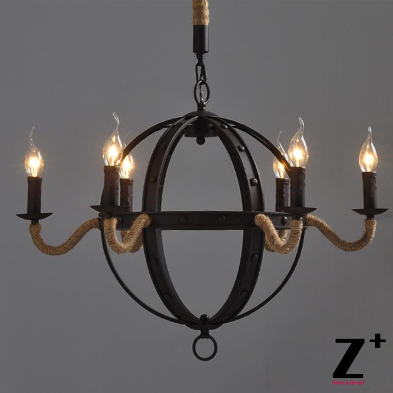 industrial vintage wrought iron metal iron chandelier 6 lights sphere free shipping - Sphere Chandelier