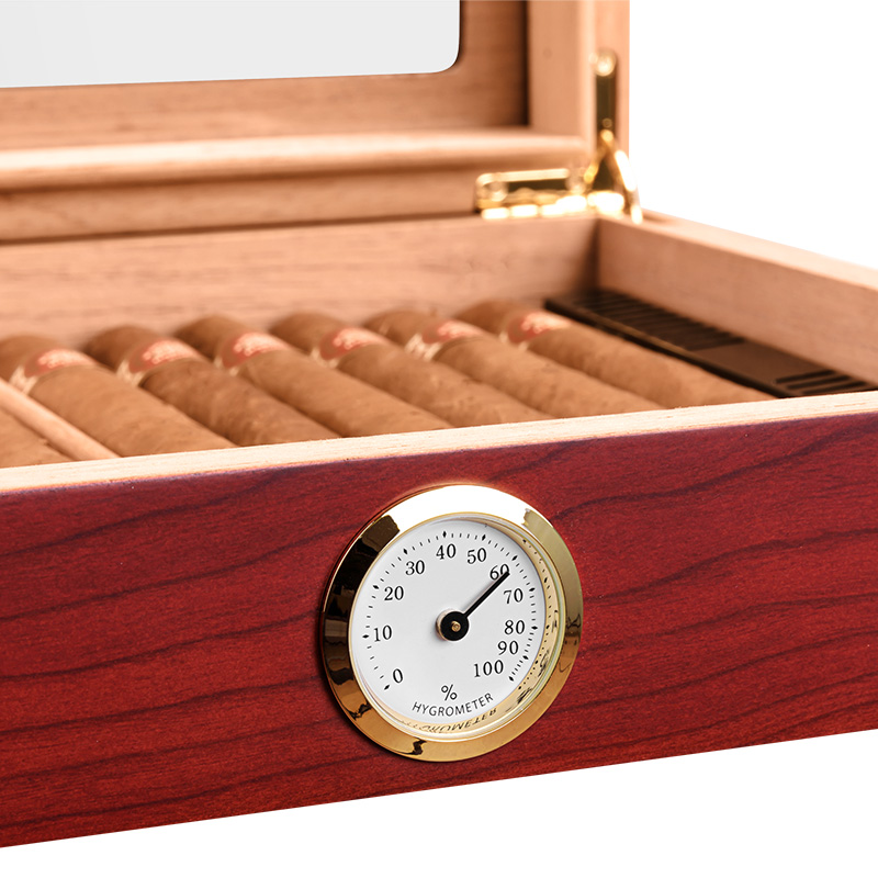 Portable Spain Cedar Cigar Case Wood Travel Cigar Humidor Set with Humidifier and Hygrometer Brown Storage Box CA-0121