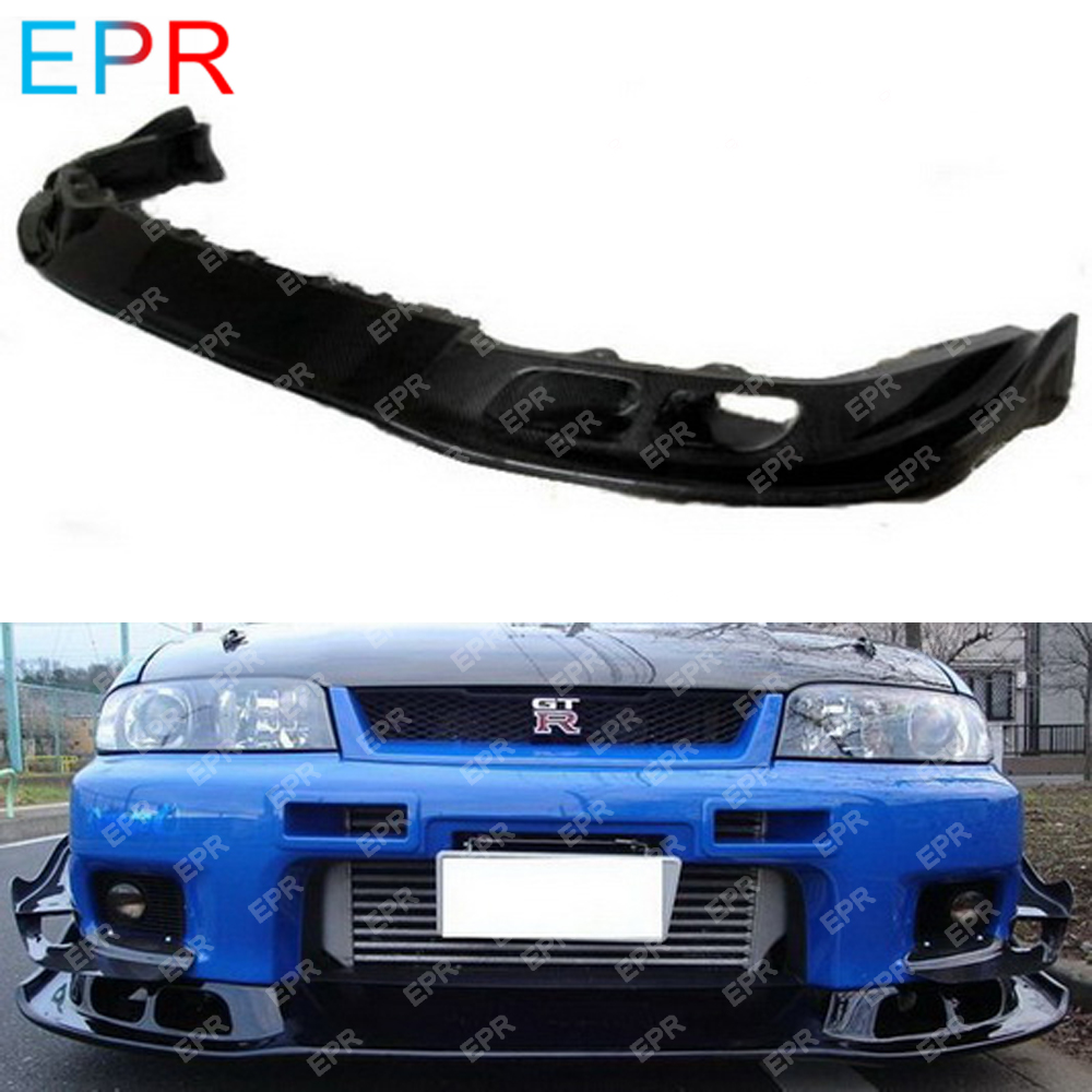 For Nissan Skyline R33 Carbon Fiber Front Lip Body Kit Auto Tuning Part For GTR R33 GTR AS Style Front Lip image