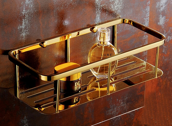 цена на Free shipping Stainless Steel Gold Wire shelf Bracket Shelf basket storage bathroom shower caddy BS002