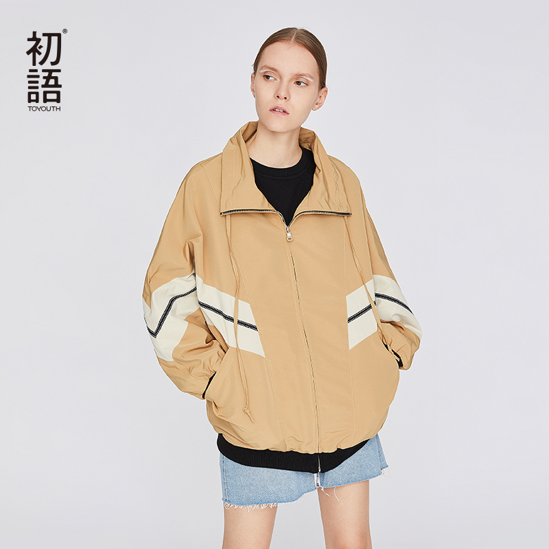 Toyouth Womens Bomber Loose Jacket Streetwear Autumn Female Fashion Coat Harajuku Short Boyfriend Jacket Mujer Chaquetas
