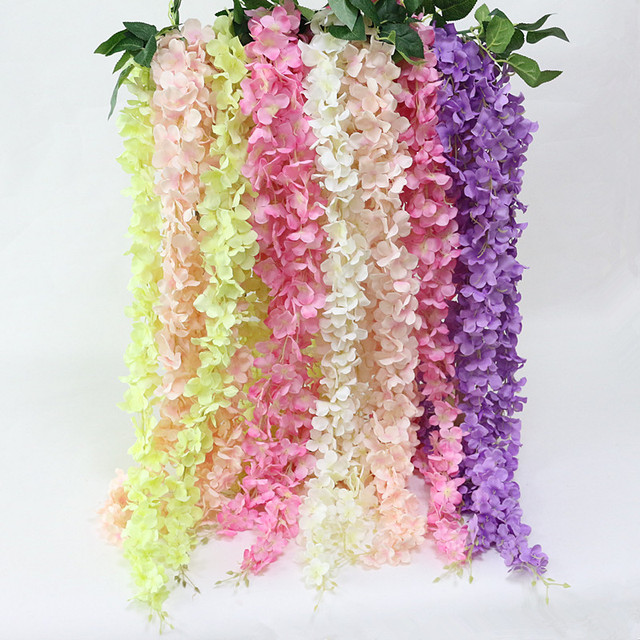 Flone Artificial Rattan Stripe Wisteria Simulation Flower Vine For Wedding Room Home Party Decorative Fake Flowers Silk Garland