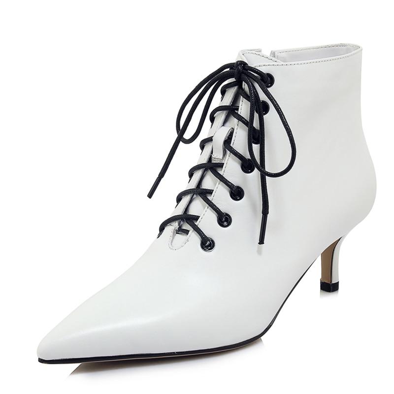 Punta Enmayer Mujer Invierno Botas Encaje Black 34 Tamaño Genuino Tobillo Zapatos white Bolso De Mujeres Cuero 39 Zyl1845 pUUw45q