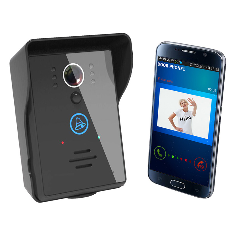 Wireless-WiFi-Video-IR-Camera-Doorbell-Door-Phone-Visual-Intercom-Night-Vision EU Plug Infrared camera mobile wifi wireless video door phone intercom doorbell peephole camera night vision alarm smart home wireless visual intercom