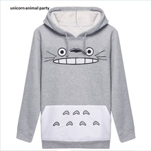 Amazon Totoro Cartoon Printing Loose Coat Jacket Long Sleeve Even Hat Pullover  Woman 1335