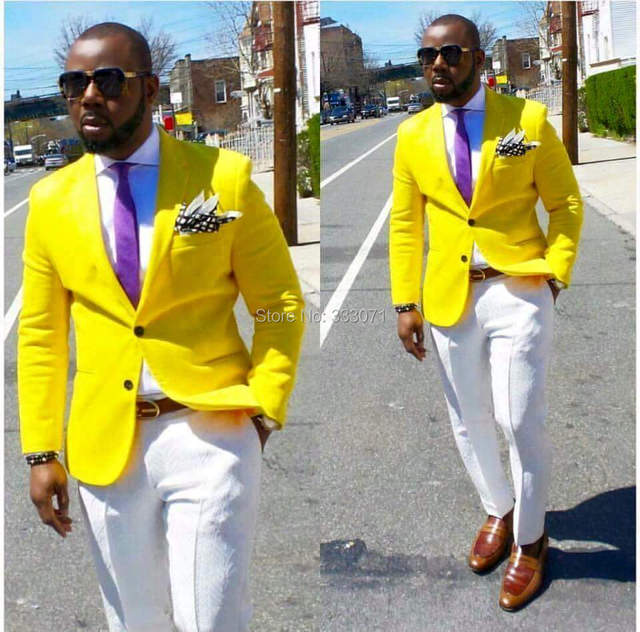2017 Latest Coat Pant Designs tailor Made Hot Yellow Blazer Man Suit  Groom Tuxedos Classical Men Wedding Prom Suits 2 Piece