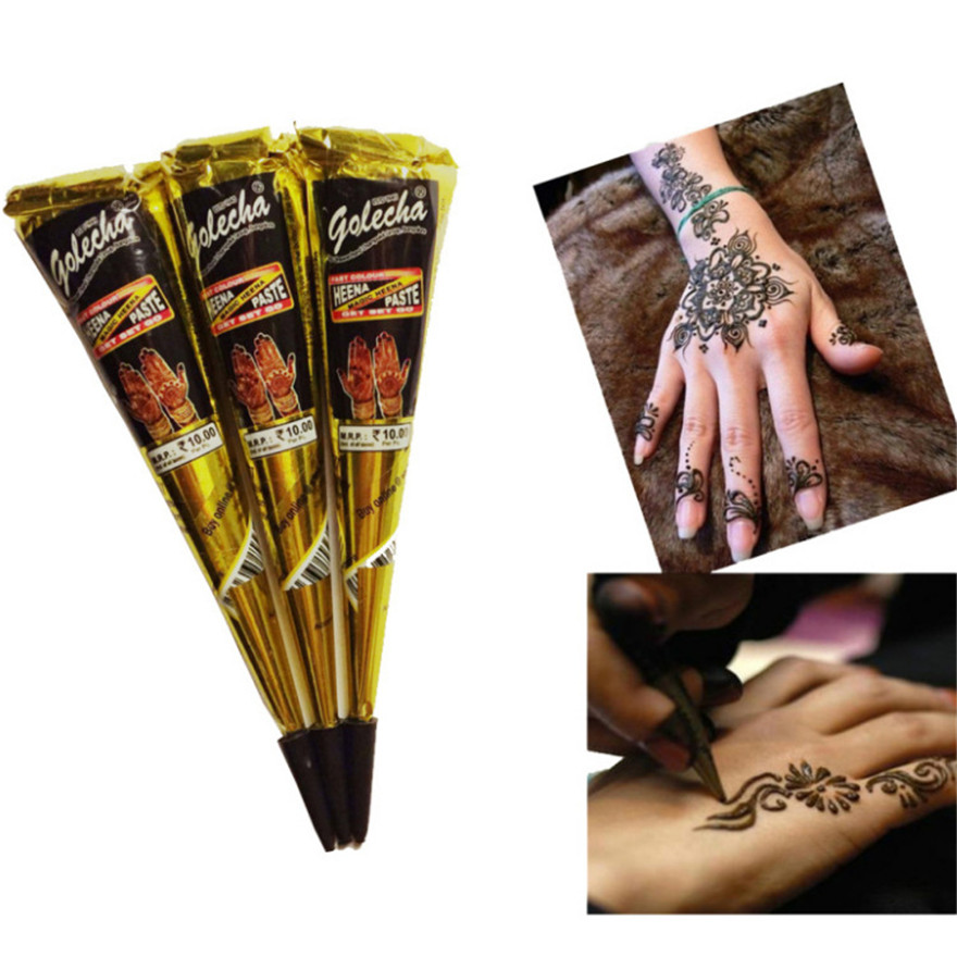 Henna Cones Indian Henna Tattoo Paste For Temporary Tattoo Body Art Sticker Mehndi Body Paint 100% Safe Waterproof