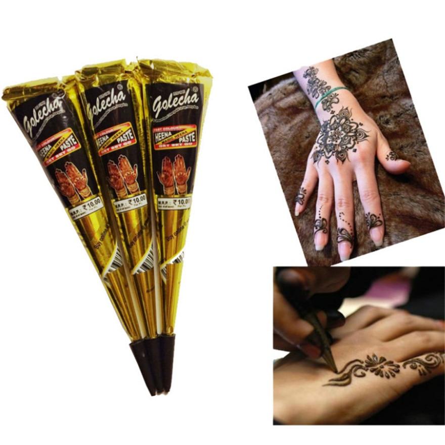 Henna Cones Indian Henna Tattoo Paste For Temporary Tattoo Body Art Sticker Mehndi Body Paint 100% Safe Waterproof